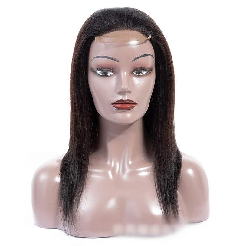 証拠アンビエントキノコHOHYLLYA 12インチレース前頭100%リアルヘアエクステンション無料パート4×4シルキーストレート人間の髪の毛のレース閉鎖かつらパーティーウィッグ (色 : 黒, サイズ : 12 inch)