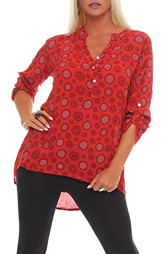 Malito Damen Bluse mit Print | Tunika mit ¾ Armen | Blusenshirt auch Langarm tragbar | Elegant - Shirt 6703 (rot)