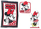 Disney 3pc Kitchen Towel Set Cute Chef Minnie Red