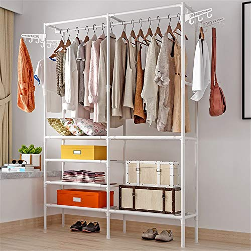 JTRHD Coat Stands Standing Metal Hanger Stand-alone Clothing Ready-to-wear Storage Organizer Closet Wardrobe for Office Bedroom Closet (Color : White, Size : 86x44x174cm)
