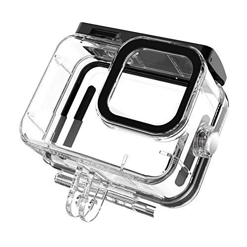 Zebroau Adecuado para Gopro Hero9 Carcasa protectora de buceo resistente al agua, carcasa de buceo sin quitar la lente, 50 metros impermeable, transmisión de luz ≥95, dureza ≥9H