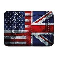 NINEHASA バスマット お風呂マット 英国と米国の旗ヴィンテージの同盟の一体性のテーマ構成 バスマット 浴室 吸水 速乾 お風呂マット