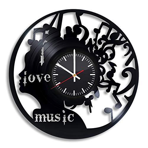 I Love Music Reloj de pared de vinilo, disco de vinilo, hecho a mano, decoración artística para el hogar, la cocina, regalo original para cualquier ocasión, suministros de fiesta decoración