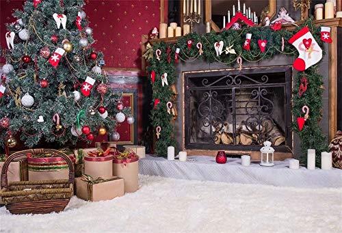 Cassisy 3x2m Vinilo Navidad Telon de Fondo Exhibición de la Chimenea de la Navidad Telón de Fondo de la Fiesta de Navidad Fondos para Fotografia Party Infantil Photo Studio Props Photo Booth