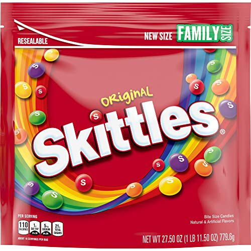 Skittles Original Fruity Candy, Family Size Bag, 27.5 Ounce (Pack of 6)