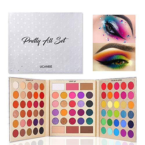 UCANBE 86 couleurs Palette de fards à paupières maquillage multi-usage Shimmer Mat Glitter Ombre à paupières avec surligneur Contour Blusher Eye Face Cosmetic Set