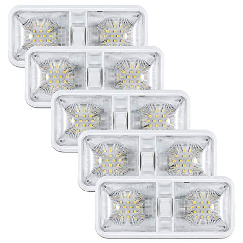 Kohree 12V Led RV Ceiling Dome Light RV Interior Lighting for Trailer Camper with Switch, Natural White 4000-4500K 640 Lumens (Pack of 5)