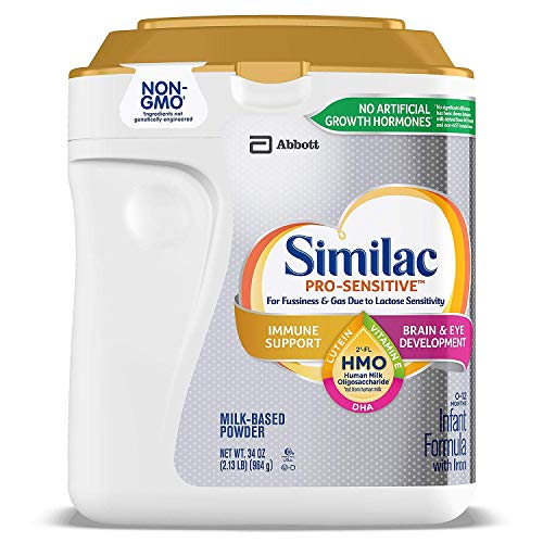 Similac Abbott Pro-Sensitive Non-GMO Powder Infant Formula with Iron with 2'-FL HMO for Immune Support 34 oz…