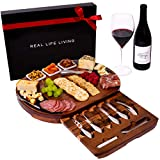 Large Round Charcuterie Board Set - Giftable 20-Piece Cheese Board and Knife Set - Wedding & Holiday Platter...