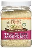 El orgullo de la India tailandés fragante jazmín blanco Hom Mali de arroz de arroz, tarro 1.5 libras