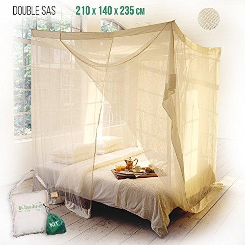 Rechteckiges Moskitonetz Klamboe Überlegenes, handgemachtes, Rechteckiger Mückennetz - 210cm x 140cm x 235cm- Double Sas - Natur