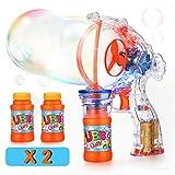EPCHOO LED Seifenblasenpistole, Seifenblasen Pistole Riesenseifenblasen Spielzeug für Kinder & Erwachsene inklusive 2X 60 ml, Luftblasen Pistole Bubble Gun Batteriebetrieben Seifenblasenmaschine