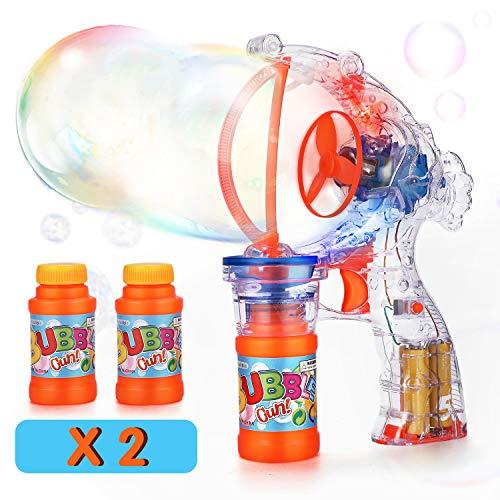 EPCHOO LED Seifenblasenpistol, Seifenblasen Pistole Riesenseifenblasen Spielzeug für Kinder & Erwachsene inklusive 2X 60 ml, Luftblasen Pistole Bubble Gun Batteriebetrieben Seifenblasenmaschine