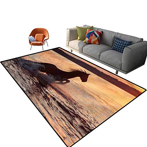 Indoor Room Equestrian Area Rugs,6'x 9',Horse Sea at Sunset Floor Rectangle Rug with Non Slip Backing for Entryway Living Room Bedroom Kids Nursery Sofa Home Decor