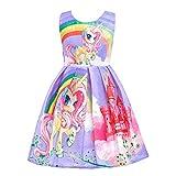 Lito Angels Vestido de Unicornio My Little Pony para Niñas, Ropa Casual de Fiesta de Cumpleaños de Verano, Talla 5-6 años, Estilo C - Morado