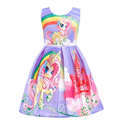 Lito Angels Kleine Mädchen Regenbogen Einhorn Kleider Kostüm Schick Ankleiden Outfit Halloween Party 3-4 Jahre Lila