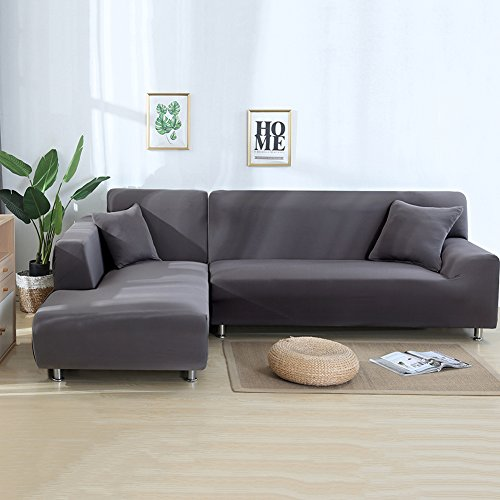 cjc Premium Quality Sectional Corner L-Shaped Sofa Cover Sofa Protector L-Shape Couch Decoration Polyester Fabric Stretch Slipcovers for Left/Right Side Sectional Sofa (L-Shape 3+3 Seats, Grey)