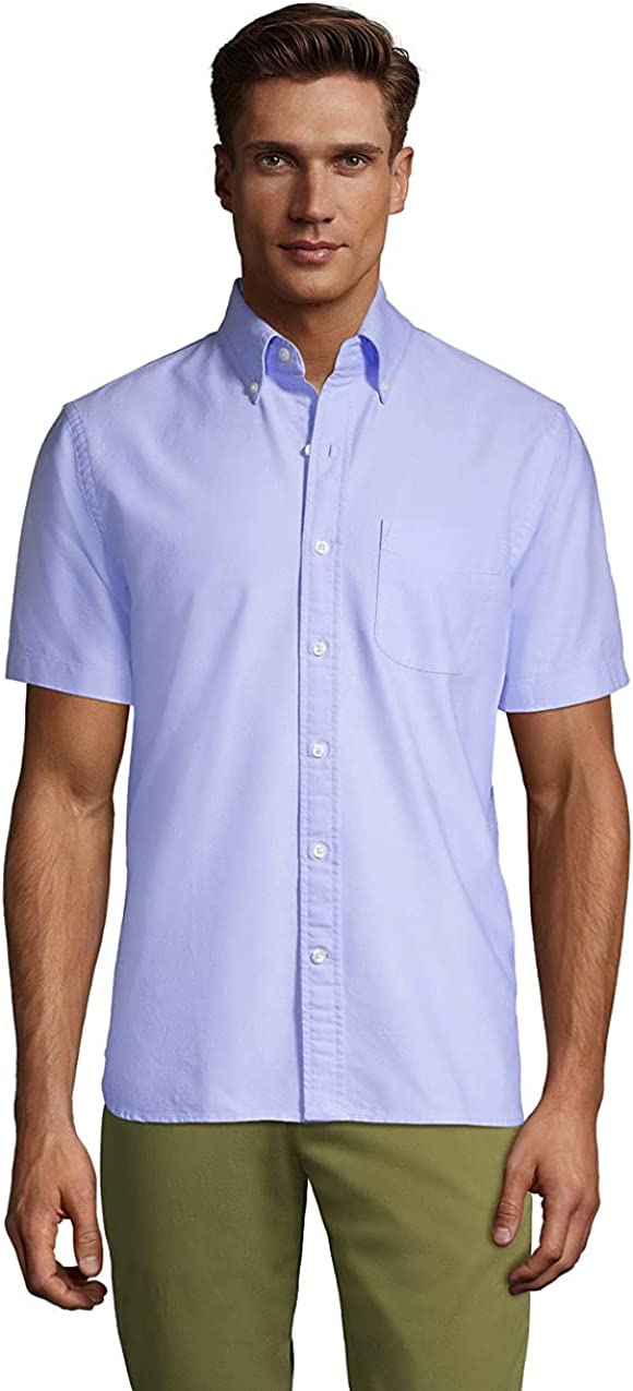 Lands' End Men's Traditional Fit Short Sleeve Comfort-First Sail Rigger Oxford Shirt