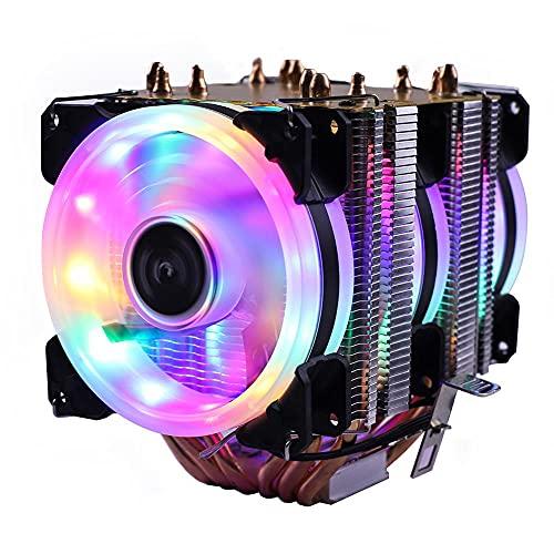 CPU Radiador 6 Tubos Fan de refrigeración refrigerador para Intel AMD CPU LGA 1155 1156 1150 1366111111111-3 x 99 Placa Base del zócalo (Blade Color : RGB 3 Fans, Blade Quantity : 3PIN)