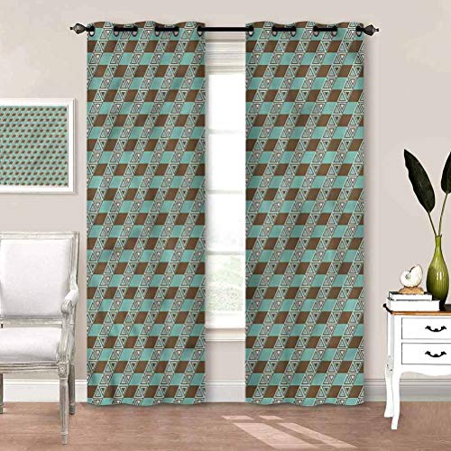 Window Curtain Geometric, Retro Color Triangles Patio Sliding Door Curtain Perfect for Your Kids Rooms W72 x L72 Inch
