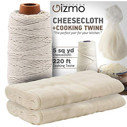 Cheesecloth and Cooking Twine - by Kitchen Gizmo, Grade 50 100% Unbleached Cotton (5 Yards/45 Sq. Feet) Cheese Cloth for Straining with 220 Ft Butchers Twine