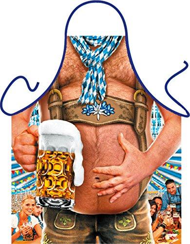 Goodman Design Schürze mit witzigem Motiv - Bierbauch mit Maßkrug - Mit gratis Urkunde - Bayern - Kochschürze - Grillschürze