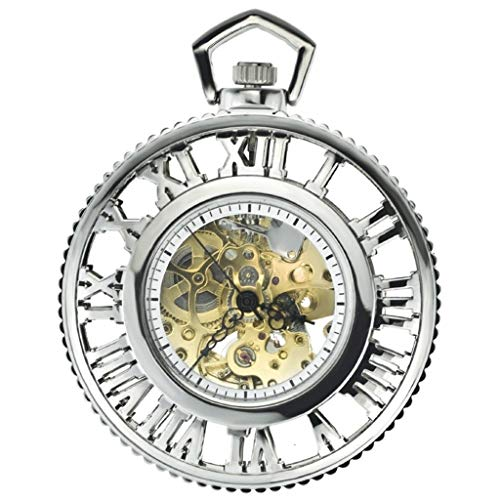 * KZBH Taschenuhr, automatische mechanische Retro-Taschenuhr mit römischen Getriebe, automatische Dampfgetriebe, Mode-Industrie, Antik-Silber-Armbanduhr für Herren