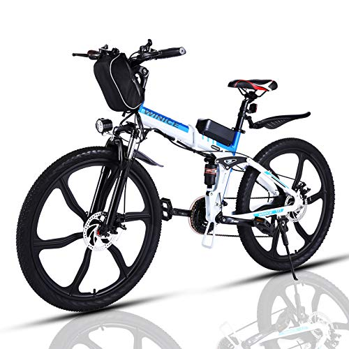 "VIVI Bicicleta Electrica Plegable 350W Bicicleta Eléctrica Montaña, Bicicleta Montaña Adulto Bicicleta Electrica Plegable con Rueda Integrada de 26"", Batería de 8 Ah, 32 km/h Velocidad MÁX"