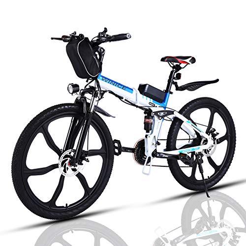 VIVI Bicicleta eléctrica Plegable 350W, Bicicletas eléctricas para Adultos, Bicicleta de montaña con Rueda integrada de 26', batería de 8 Ah, Velocidad de 32 km/h/kilometraje de Recarga 40 km /
