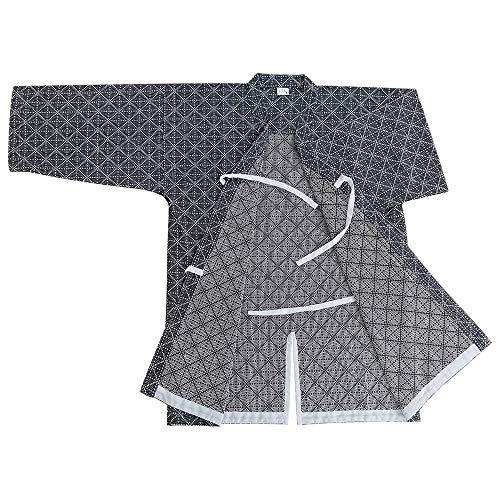 G-like Herren Kendo Kampfkunst Uniform - Traditionelle Japanische Kampfkunst Kendogi Aikido Karate Ninja Training Kleidung Keikogi Karos Oberhemd Jacke für Männer Frauen - Baumwolle (Dunkelblau, L)