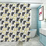 """Dog Stall Shower Curtain, Sketch Style Canine with Abstract Yellow Toned Dots Greyscale Cartoon Pets Washable Water Repellent Bath Curtains, 48"""" W x 72"""" L Grey Marigold White"""