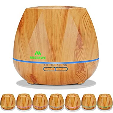 Miserwe Diffuser 550ML Aromatherapy Essential Oil Diffuser with Adjustable Mist Mode and 4 Timer Setting Diffuser for Essential Oils Waterless Auto Shut-off with 7 LED light for Home Office Yoga Spa
