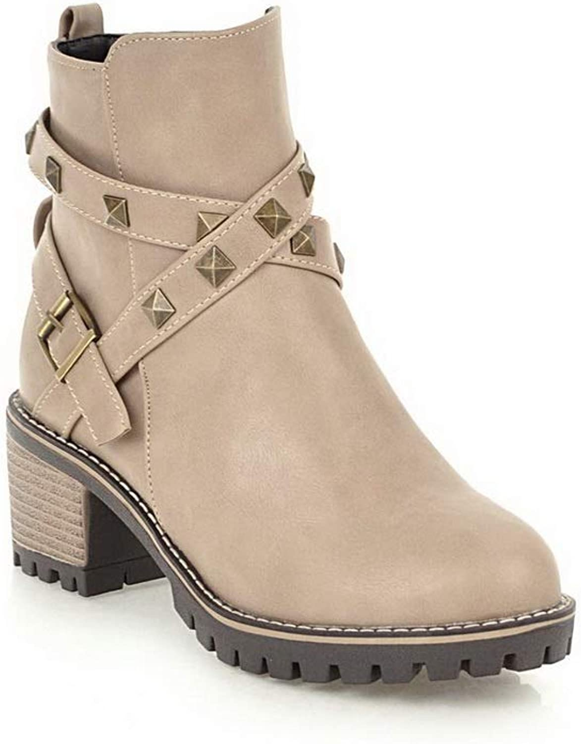 AdeeSu Womens Studded Light-Weight Bucket-Style Leather Boots SXC03009