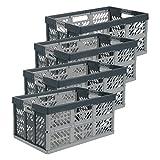 4 cajas plegables profesionales «ben» de keeeper «ben» (45l / PP / gris antracita)
