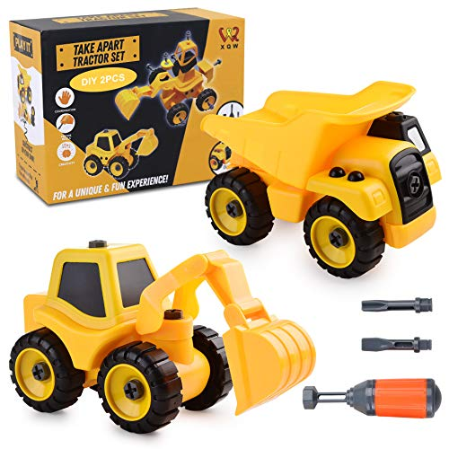 Take Apart Toys -Toy for Boys Construction Truck - Dump Truck, Cement Truck, Excavator and Many More - 3.4.5.6.7 Year Olds Toys Gift for Boys - Kids Stem Building Toy… (Dumper & Excavator)