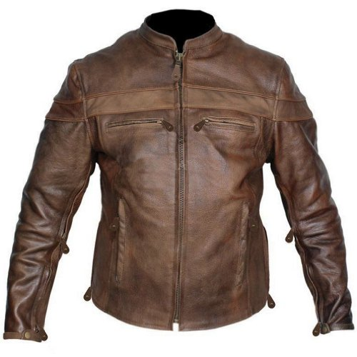 Leather Supreme Men's Retro Brown Buffalo Hide Cafe Racer Motorcycle Jacket -Brown-40-TALL