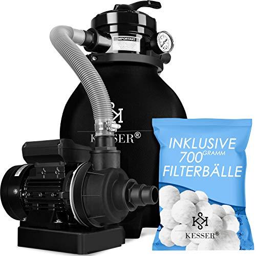 KESSER® Sandfilter Sandfilteranlage + 700g Filterbälle ersetzen 25kg Filtersand- Poolfilter 10 m³/h Filteranlage Filterkessel für Pool Schwimmbecken 4-Wege Ventil, einfache Steuerung, Schwarz