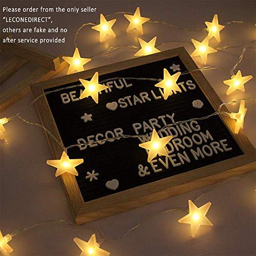 EFFE Luces de la Estrella Cuerda, Bateria cargada Decoraciones de estrellas,20 leds Estrellas decorativas blancas cálidas para bodas, cumpleaños, Halloween, Navidad, habitaciones...