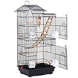 Jaulas de pájaros Jaula Pájaros Metal Grande con Soporte de Rueda Peony WREN Cría de Jaula de Caca de la Cena de Hierro con Suministros de Paloma Birdcage de Jaula de pájaros (tamaño : 39In)