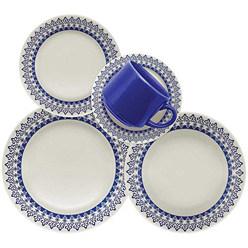 1 Aparelho de Jantar e Chá 30 Peças Biona Donna Grécia Azul/Marfim