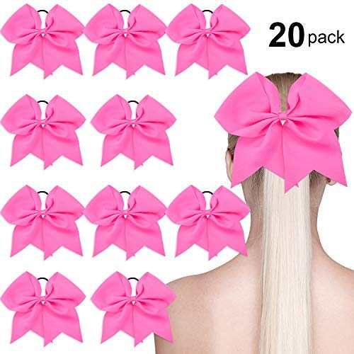 20 Pack Breast Cancer Awareness Cheerleader Bow Cheerleading Hair Bow Large Hair Bow, 7 inch (Hot Pink)