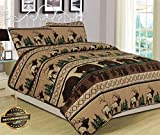 Werrox King, Queen, or Twin Quilt Bed Set Bear Elk Log Cabin Lodge Rustic | Queen Quilt Set Size | Quilt Style QLTR-291266622