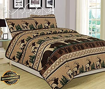 Werrox King Queen or Twin Quilt Bed Set Bear Elk Log Cabin Lodge Rustic   Queen Quilt Set Size   Quilt Style QLTR-291266622