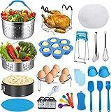 26 Pcs insta pot accessories Pressure Cooker Accessories Set For instapot 6qt 8qt / Ninja Foodi 8QT (1Upgraded Steamer Basket,Nonstick Springform Pan,Egg Bites Mold,Magnetic Cheat Sheets & More)