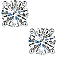 Jansme Lab Created Brilliant Round Cut Moissanite Diamond Earrings