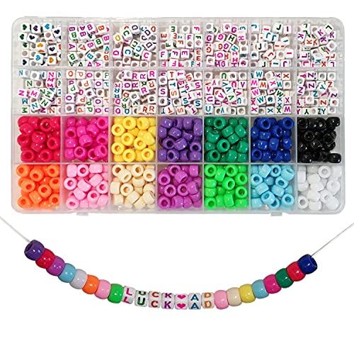 770 Stück Beads Kit, Pony Perlen,Buchstabenperlen A-Z Würfelperlen und Herzform Perlen für Name Armbänder Schmuckherstellung und Kunsthandwerk (Mehrfarbig)
