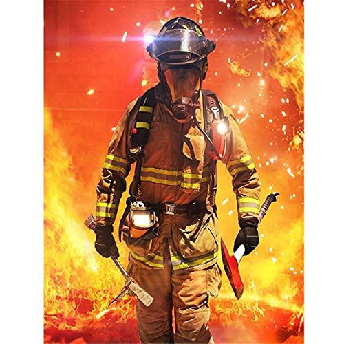 ZGZZNB Taladro cuadrado completo bombero héroe de fuego pintura de diamantes DIY moda bordado a mano decoración del hogar pintura de diamantes Kit de punto de cruz-12x16in(30x40cm)