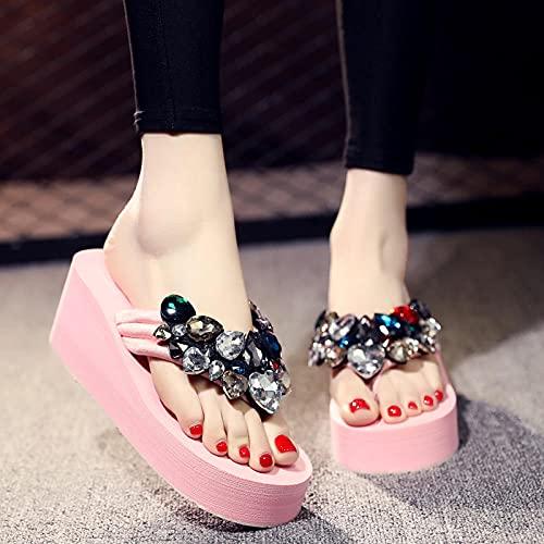 zapatillas deportivas de mujer blancas,Chanclas de diamantes de verano de verano, use zapatos de playa de moda de vacaciones afuera, linda y versátil pendiente junto al mar con chanclas de fon