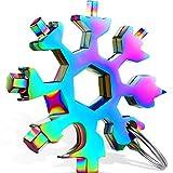 Llave de Copo de Nive Multifuncional 18 en 1 Llavero de Copo de Nieve de Acero Inoxidable Herramienta Práctica de Copo de Nieve Llave de Anillo Abridor de Botellas para Camping