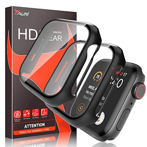TAURI 2 Pack Apple Watch Funda con Protector de Pantalla para Apple Watch 40mm Series 6 5 4 SE Rígido para PC Funda Delgado y Protector de Pantalla de Vidrio Templado Cubierta Protectora General